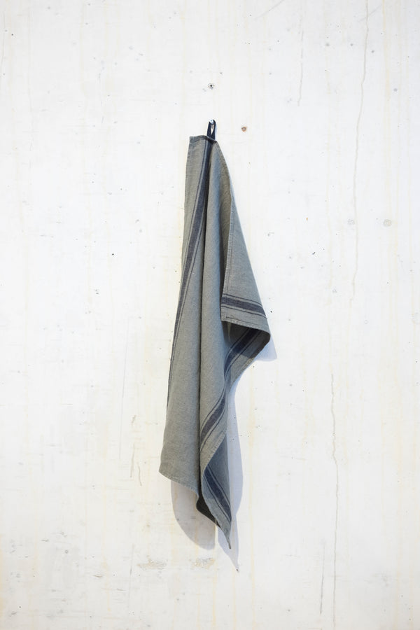 Linen kitchen towel 240 g/m² - Khaki/Grey stripe