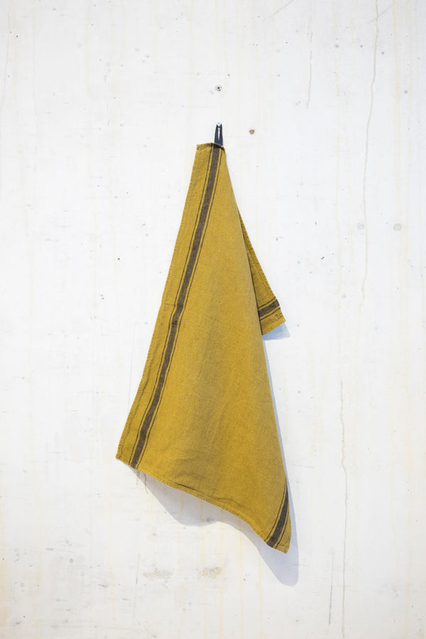 Linen kitchen towel 240 g/m² - Brown/Grey stripe