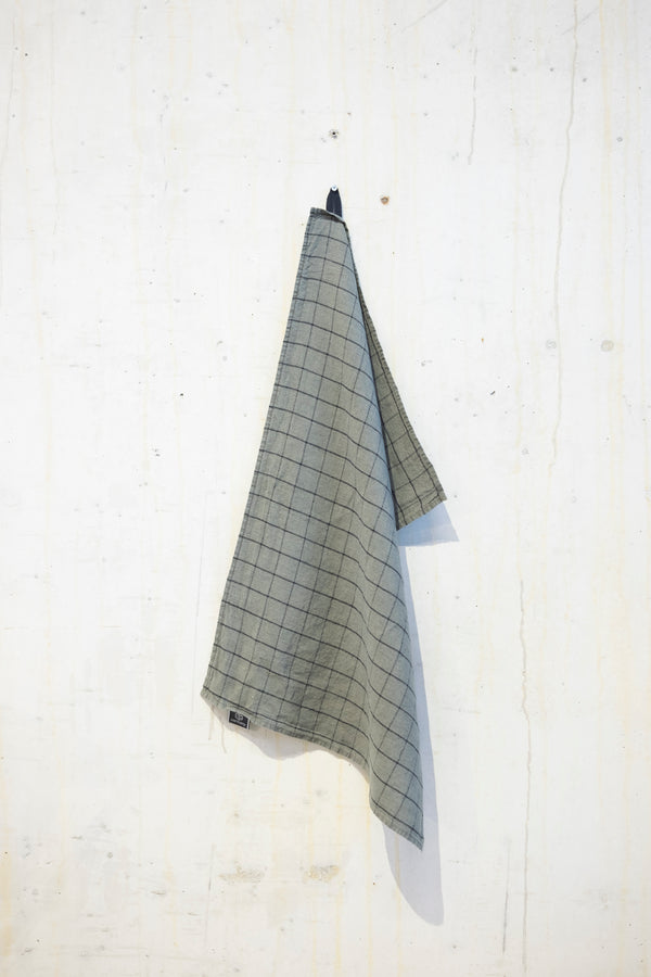 Linen kitchen towel 180 g/m² - Khaki/Grey check
