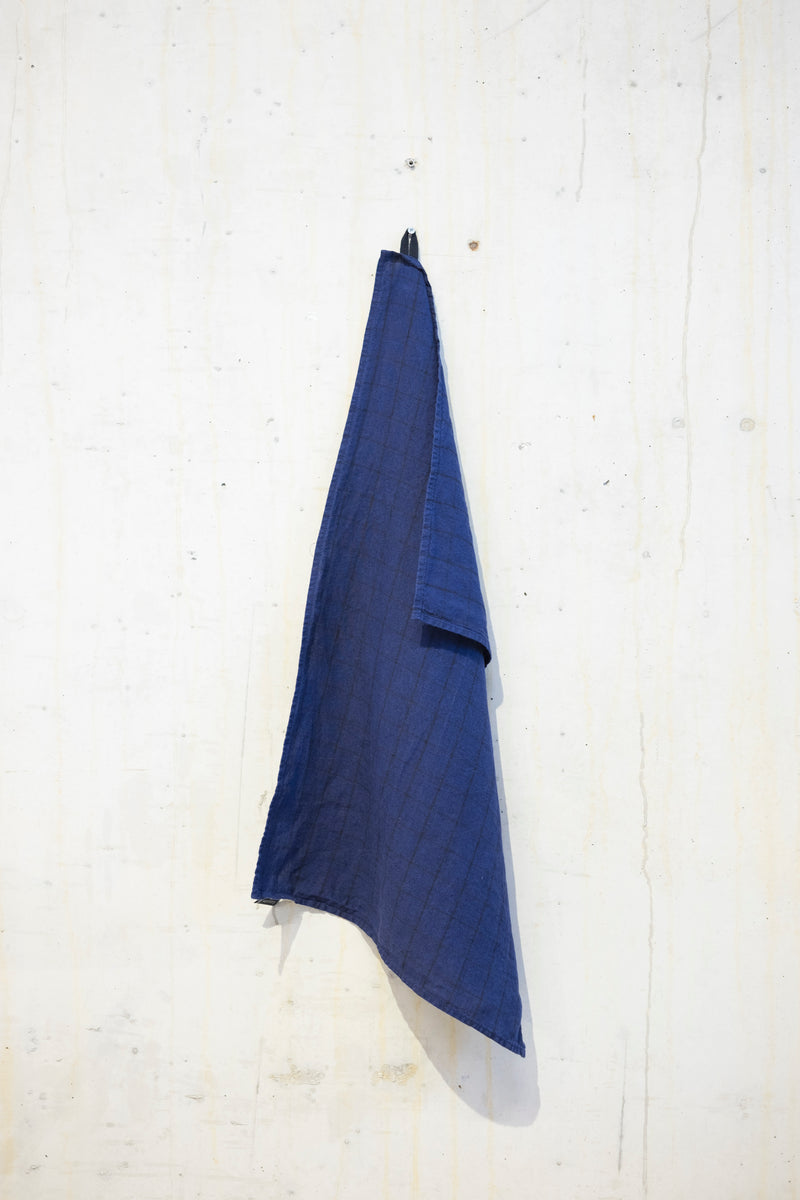 Linen kitchen towel 180 g/m² - Indigo/Grey check