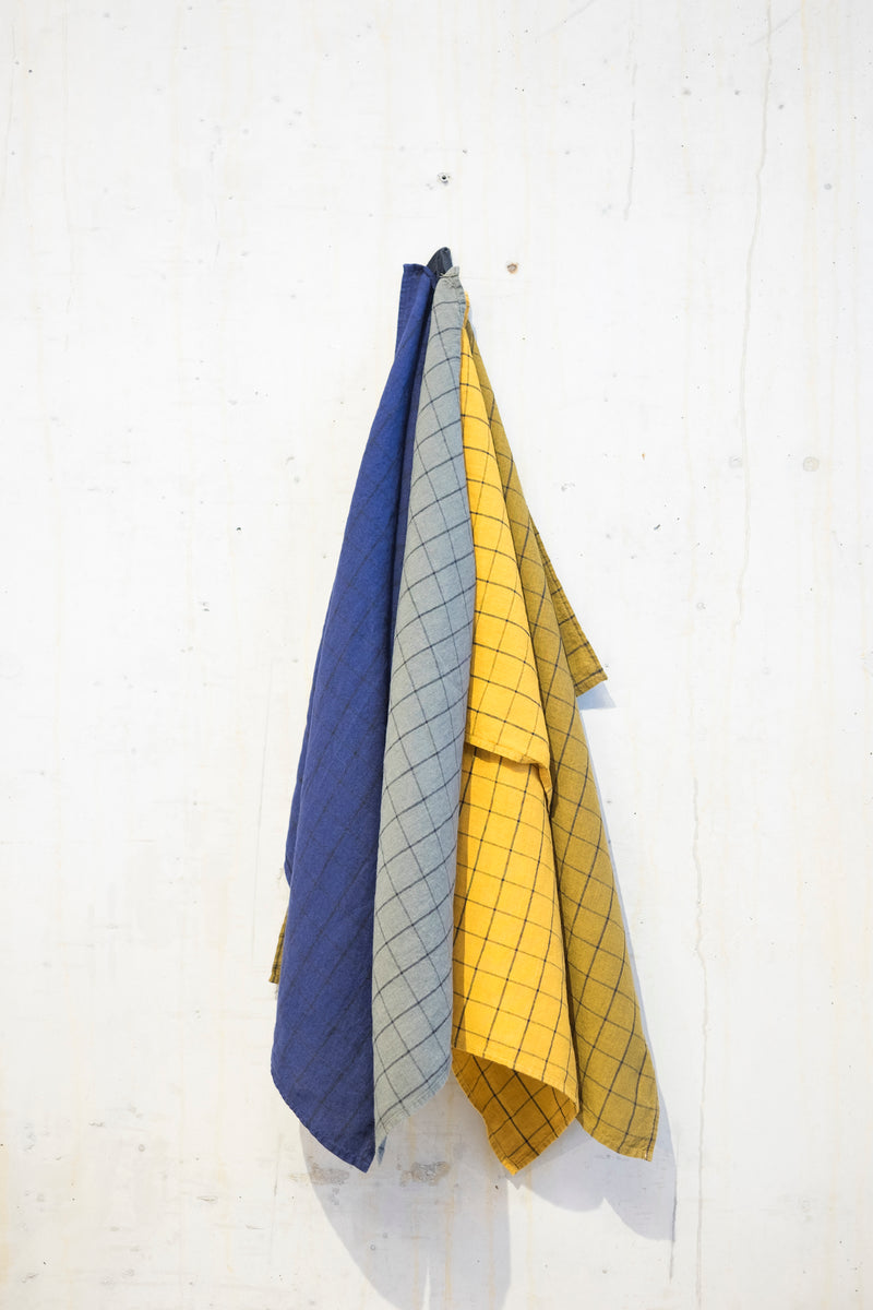 Linen kitchen towel 180 g/m² - Ochre/Grey check