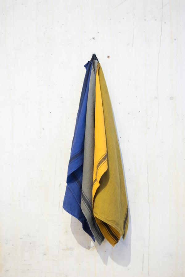 Linen kitchen towel 240 g/m² - Ochre/Grey stripe