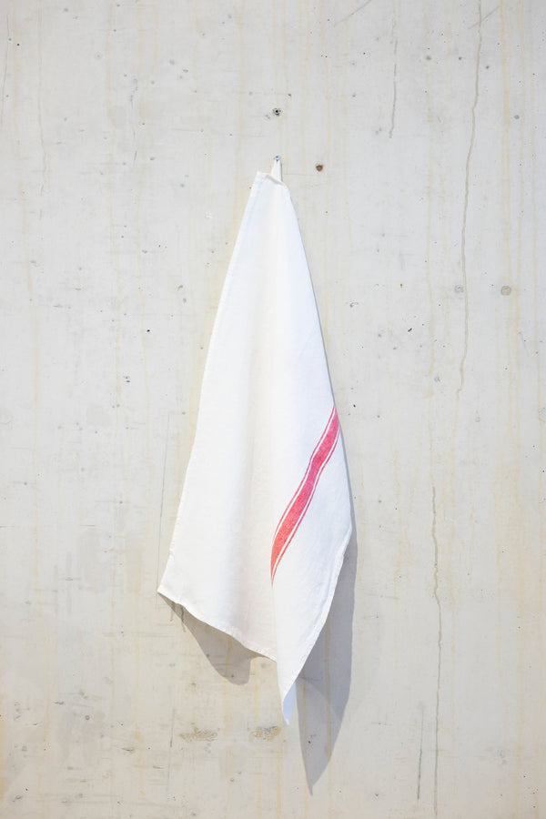 Linen kitchen towel 180 g/m² - White/Red stripe