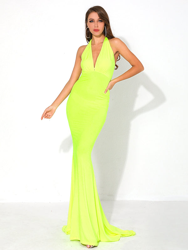 V Neck Off Shoulder Summer Maxi Dresses Female Backless-Chic By Night -Yellow-L-Chic By Night