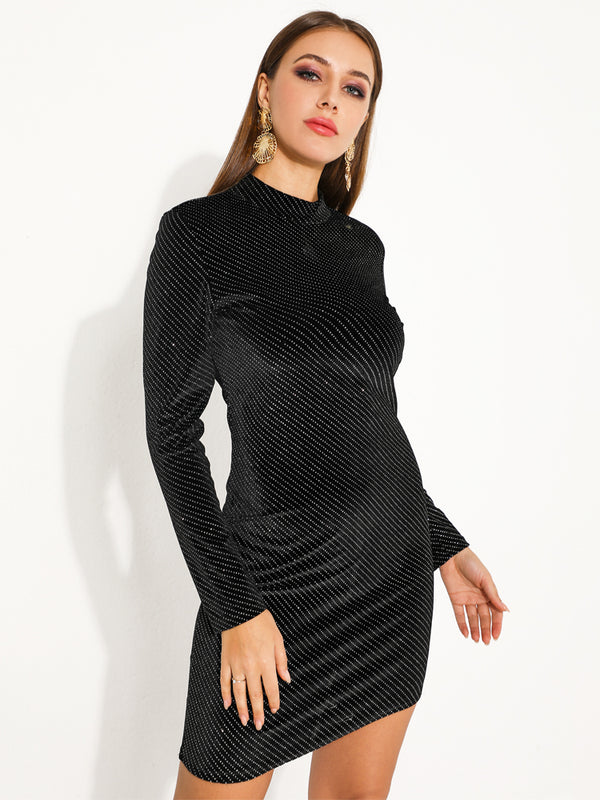 Black Crewneck Long Sleeve Solid Color Dresses-Chic By Night -Black-XS-Chic By Night
