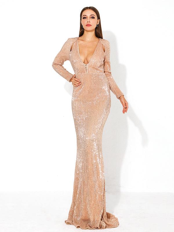 Gold Deep-V Long Sleeve Hollow Out Dresses Female-Chic By Night -Champagne gold-S-Chic By Night