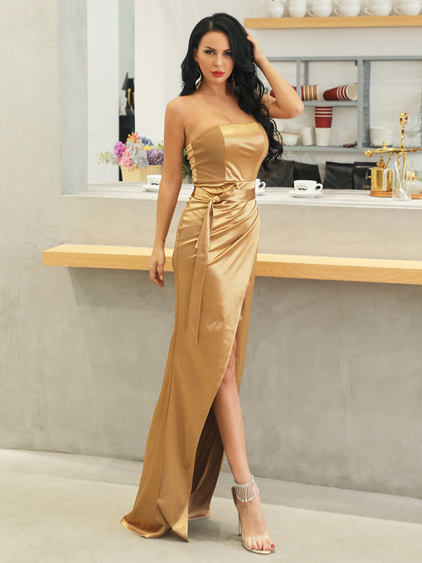 Gold Elegant Slash Neck Off Shoulder Solid Color Dresses-Chic By Night -Gold-L-Chic By Night