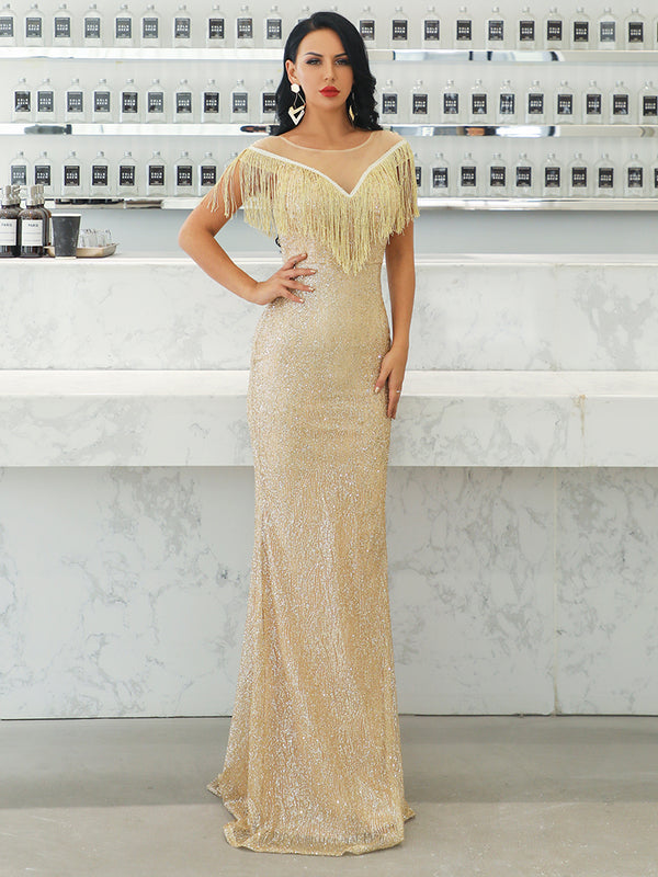 Gold Ruffle O Neck Mesh Tassel Dresses-Luxe-Chic By Night -Gold-S-Chic By Night
