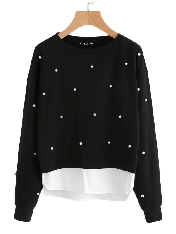 Sweatshirt Woman Pearl Beading 2 In 1-Chic By Night -Black-XS-Chic By Night