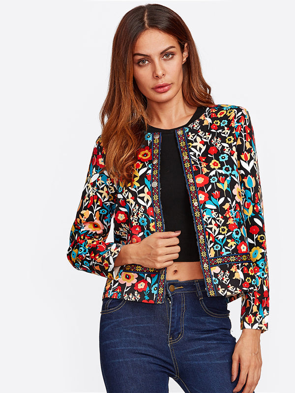 Press Button Placket Botanical Jacket Autumn Jacket-Chic By Night -Multi-S-Chic By Night