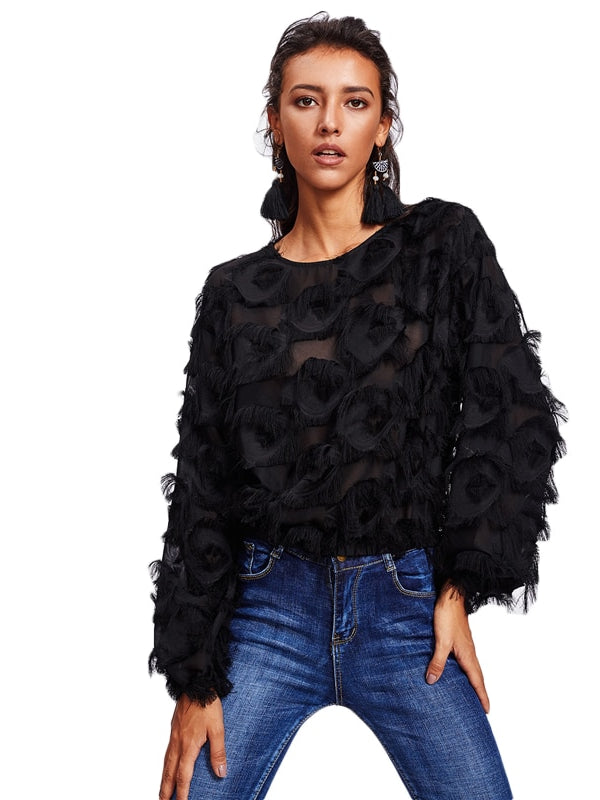 Fringe Patch Mesh Top Sexy Autumn Womens Tops-Chic By Night -Black-XS-Chic By Night