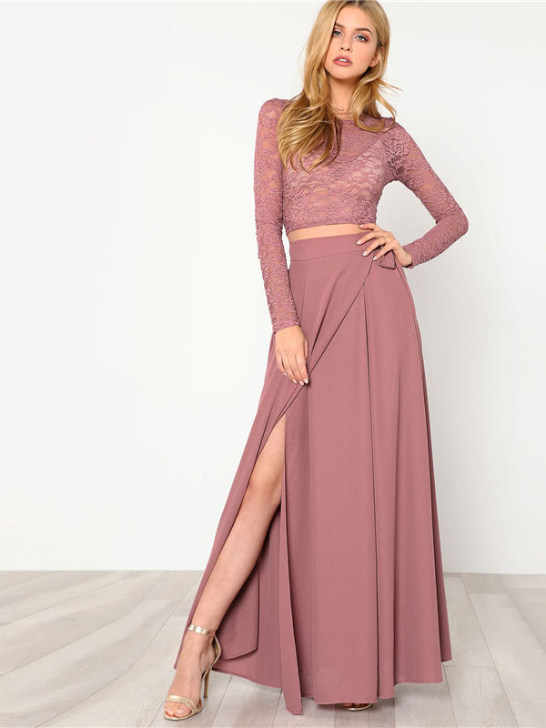 Crop Lace Top & Knot Skirt Set Round Neck Long Sleeve Belt-Chic By Night -Pink-XS-Chic By Night