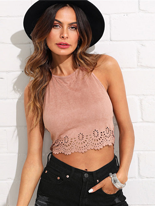Scallop Laser Suede Halter Top Pink Cut Out Backless-Chic By Night -Pink-XS-Chic By Night