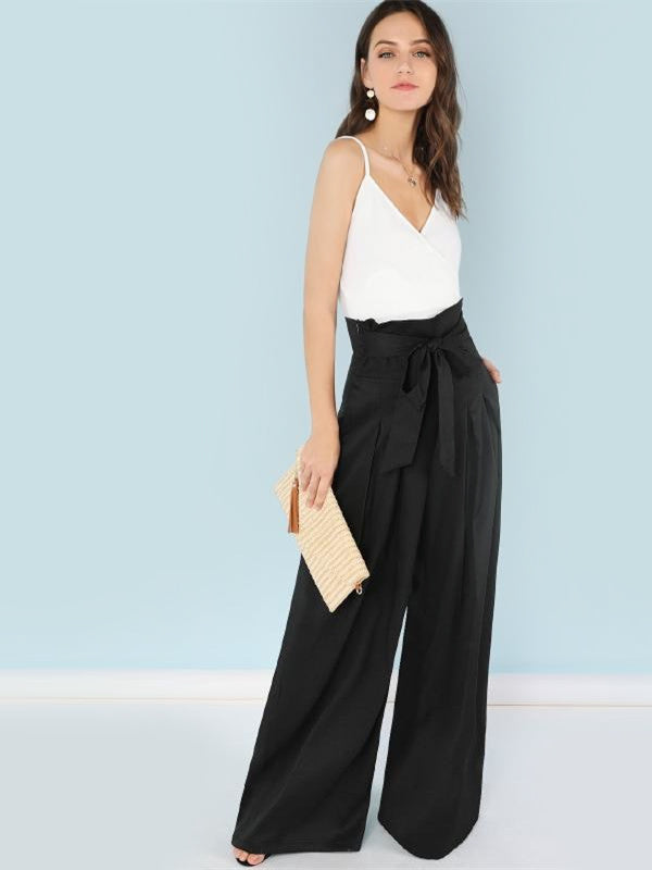 Self Belted Box Pleated Palazzo Pants Women Elegant Loose Long Pants-Chic By Night -Black-XS-Chic By Night