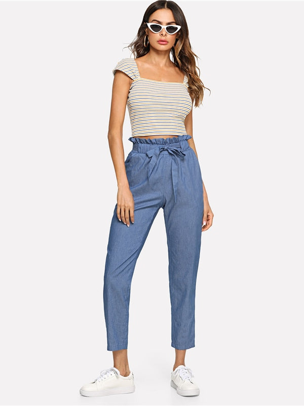 Blue Weekend Casual Belted Ruffle Mid Waist Straight Leg Solid Pants-Chic By Night -Blue-XS-Chic By Night
