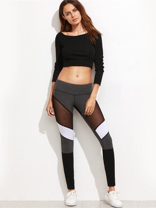 Casual Leggings Women Fitness Leggings Color Block Autumn Winter Workout Pants-Chic By Night -Multi-XS-Chic By Night