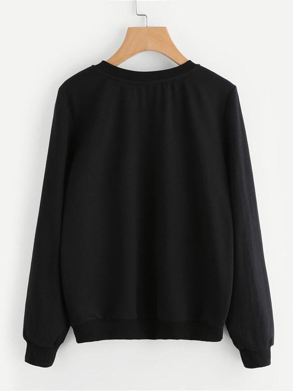 Cat Print Sweatshirt Long Sleeve Casual Pullovers Black Round Neck-Chic By Night -Black-XS-Chic By Night