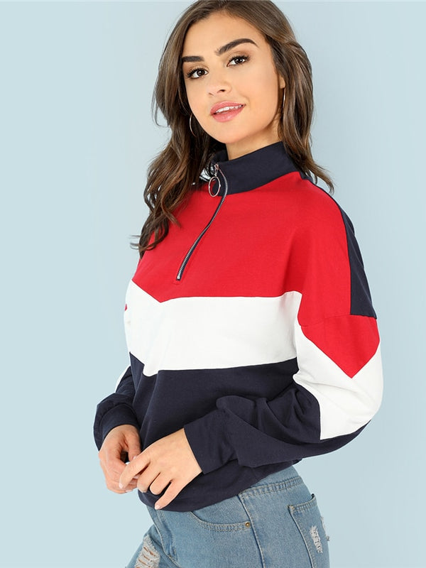 Multicolor Minimalist O-Ring Zip Front Cut And Sew Stand Neck Raglan Sleeve Sweatshirt - Chic B Night