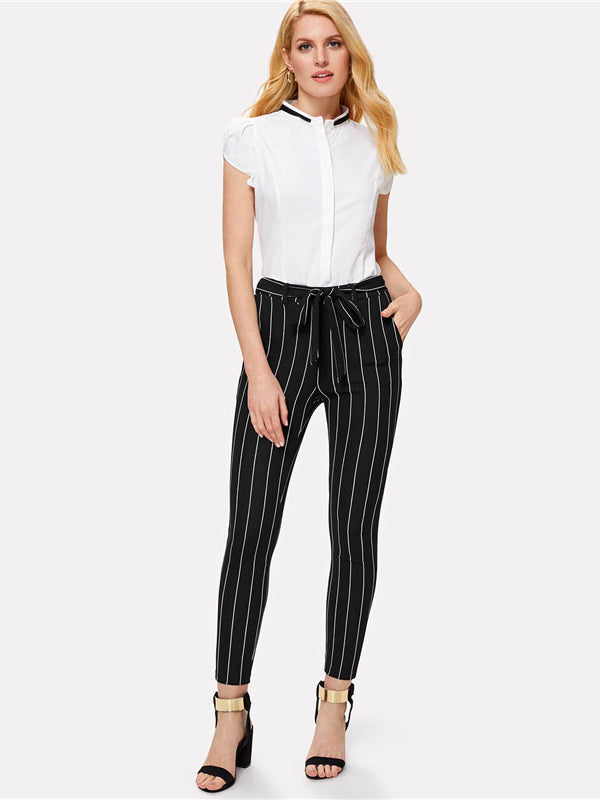 Vertical Striped Skinny Pants-Chic By Night -Black-XS-Chic By Night