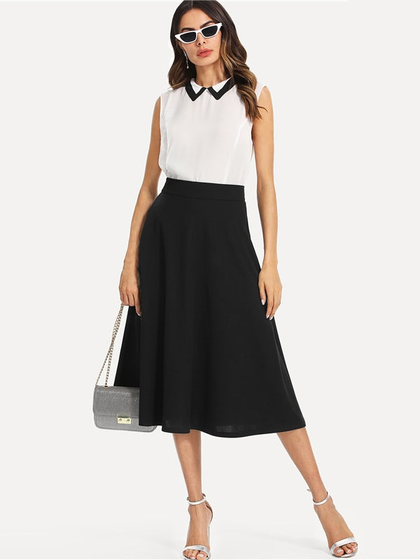 Black Elegant Slant Pocket Side Circle Mid Waist Long Skirt-Chic By Night -Black-XS-Chic By Night