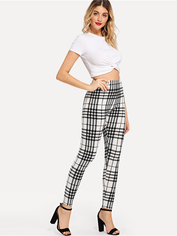 Black And White Office Lady Highstreet Plaid Skinny High Waist Casual Leggings-Chic By Night -Black and White-XS-Chic By Night