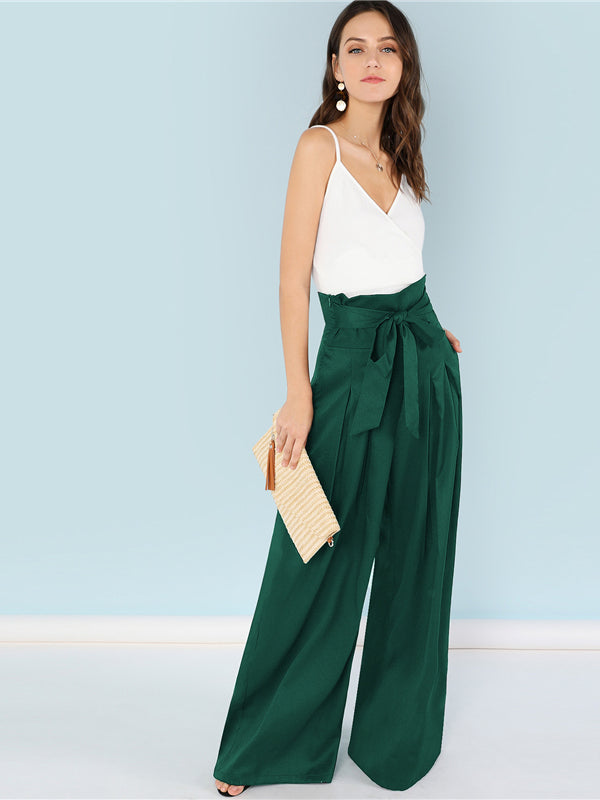 Green Lady Self Belted Box Pleated Palazzo High Waist Minimalist Wide Leg Pants-Chic By Night -Green-XS-Chic By Night