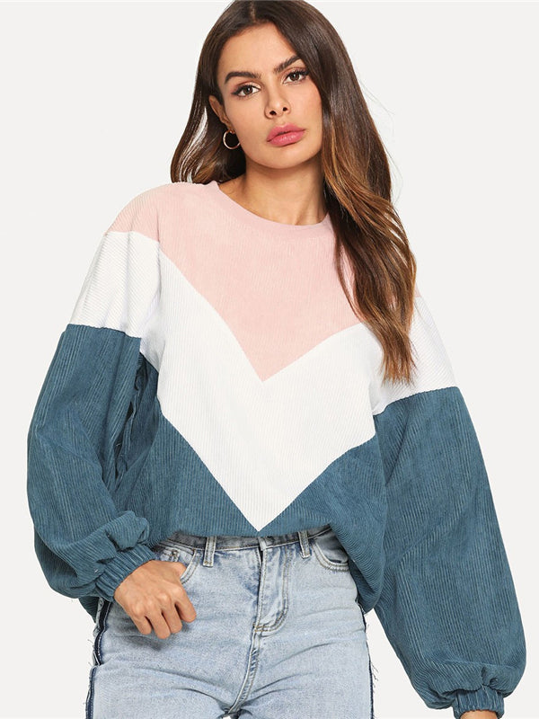 Multicolor Cut and Sew Chevron Sweatshirt-Chic By Night -Multi-XS-Chic By Night