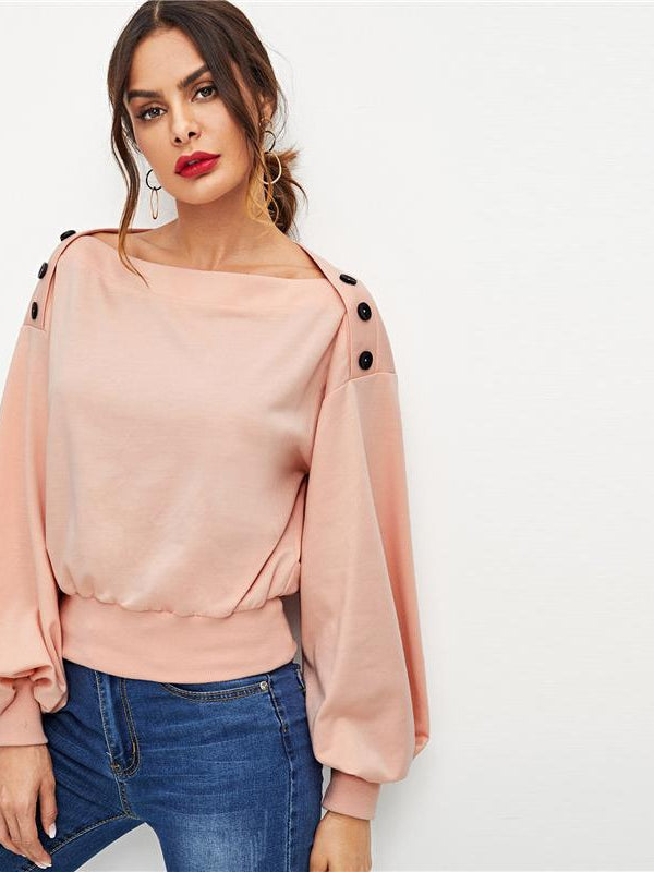 Pink Office Lady Highstreet Button Detail Lantern Sleeve Solid Sweatshirt - Chic B Night