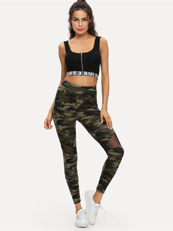 Multicolor Mesh Insert Camo Print Leggings Sporting Patchwork Sheer Crop Pants-Chic By Night -Multi-XS-Chic By Night