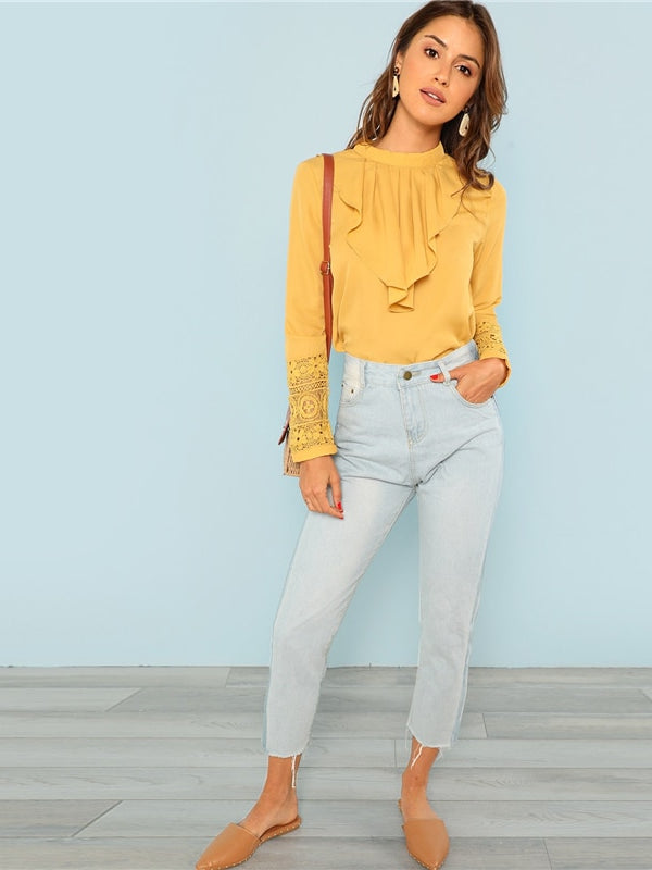 Yellow Elegant Workwear Flounce Neck Lace Cuff Button Long Sleeve Blouse-Chic By Night -Yellow-XS-Chic By Night