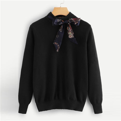 Preppy Knotted Decoration Tie Neck Stand Collar Solid Casual Women Sweater-Chic By Night -Black-S-Chic By Night