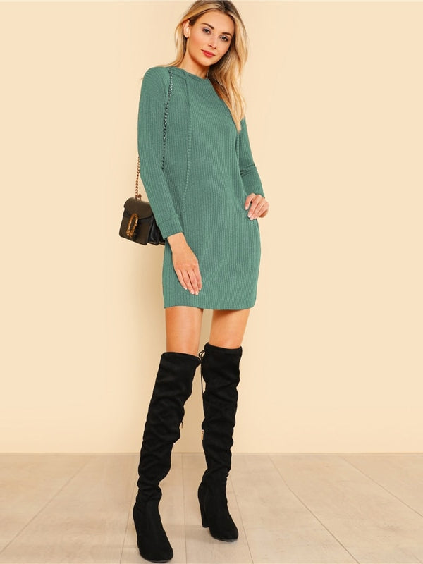 Green Solid Rib Knit Hoodie Dress Casual Long Sleeve Stretchy Sweater - Chic B Night