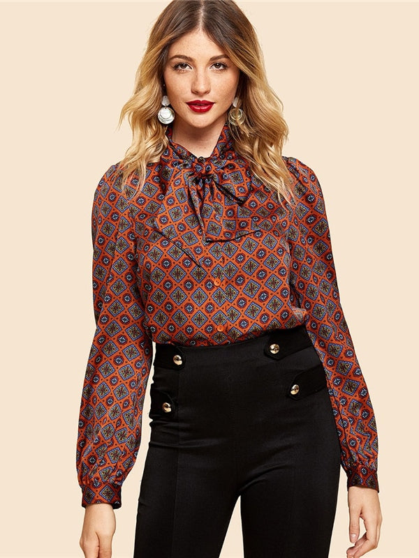 Rust Button Front Tie Neck Tribal Vintage Elegant Long Sleeve-Chic By Night -Burgundy-XS-Chic By Night