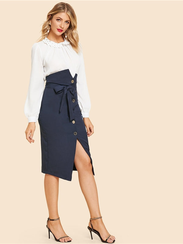 Blue Elegant Office Lady Button Up Slit Hem Mid Waist Belted Solid Sheath Skirt - Chic B Night
