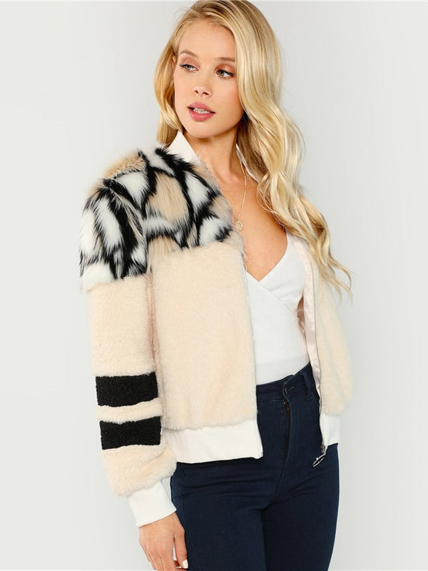 Multicolor O-Ring Zip Up Faux Fur Coat - Chic B Night
