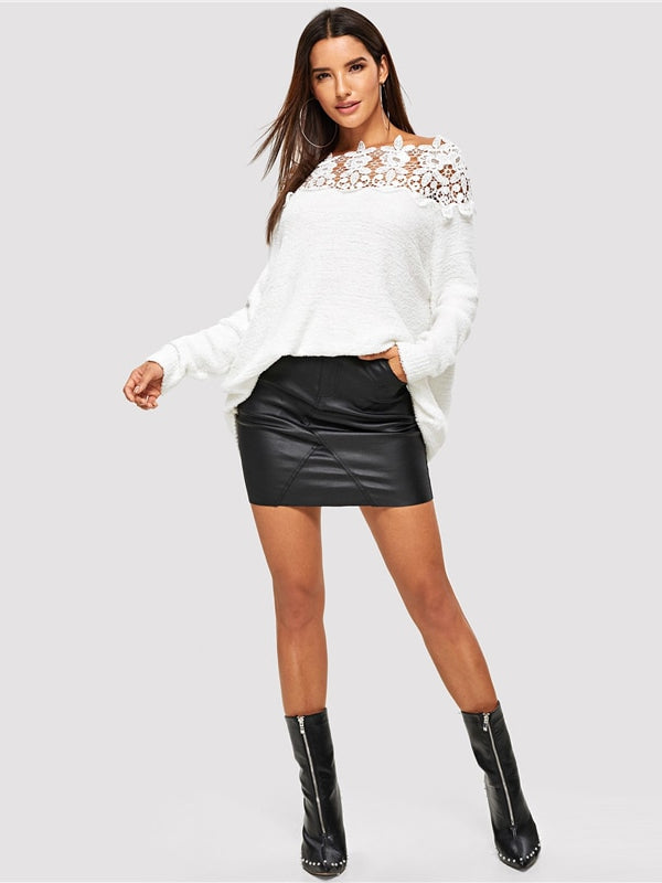 White Floral Lace Insert Solid Sweater-Chic By Night -White-S-Chic By Night
