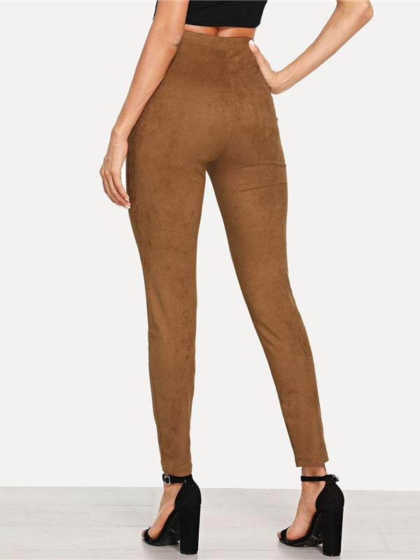 Brown Elegant Office Lady Solid Suede Skinny Leggings-Chic By Night -Brown-XS-Chic By Night