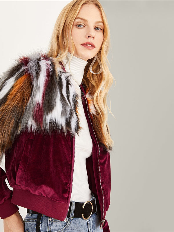 Multicolor Elegant Office Lady Zipper Up Colorful Faux Fur Jacket-Chic By Night -Multi-XS-Chic By Night