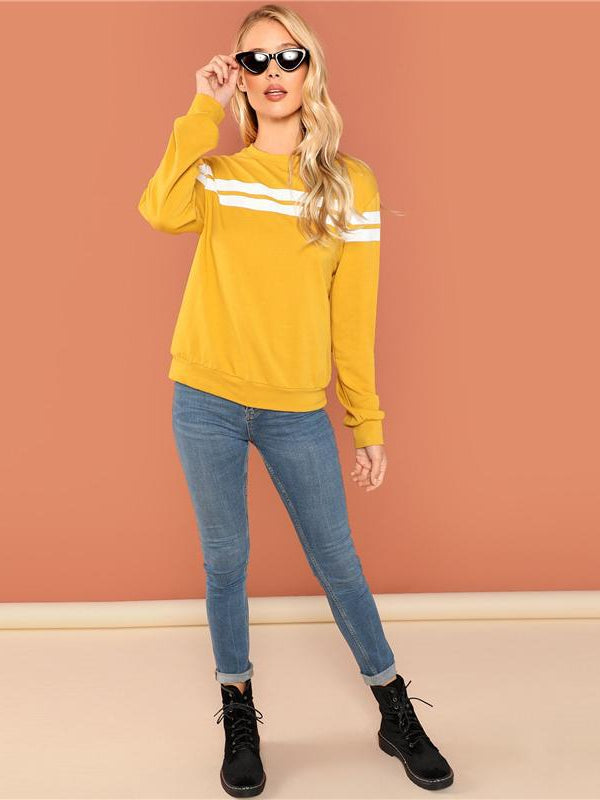 Mustard Striped Tunic Pullovers Casual Streetwear-Chic By Night -Yellow-XS-Chic By Night