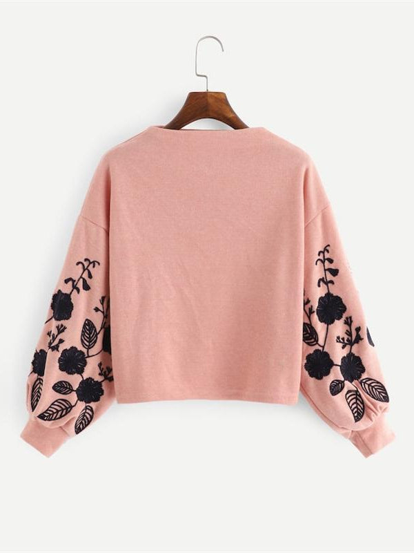 Ginger Preppy Elegant Floral Embroidered Cowl Neck Bishop Sleeve Sweatshirt-Chic By Night -Ginger-S-Chic By Night