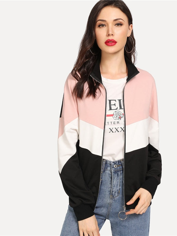 Multicolor Preppy Minimalist Drop Shoulder Cut And Sew Colorblock Casual Jacket-Chic By Night -Multi-XS-Chic By Night