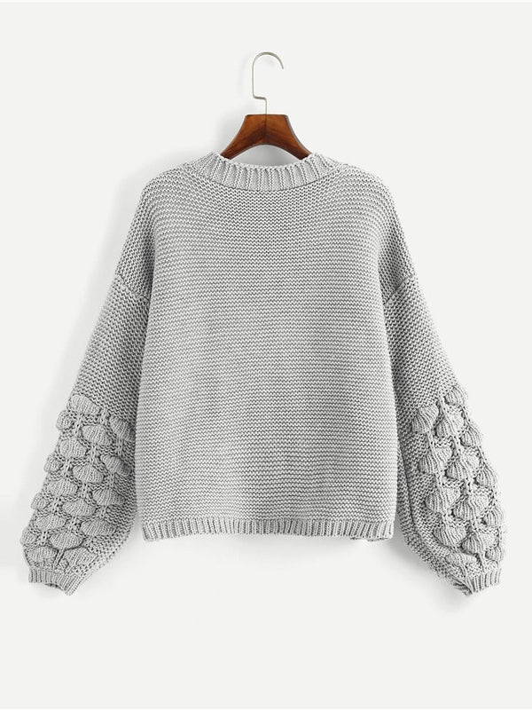 Grey Preppy Campus Crochet Bishop Sleeve Marled Solid Cardigan Casual Sweater - Chic B Night