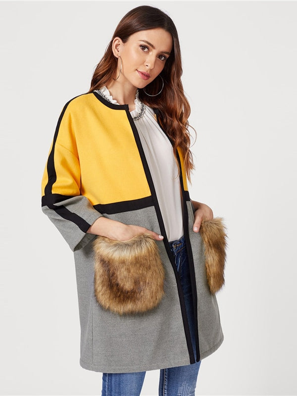 Open Front Colorblock Elegant Long Faux Fur Coat-Chic By Night -Multi-XS-Chic By Night