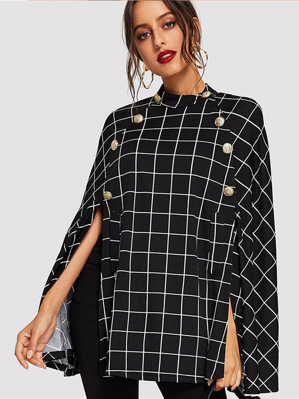 Black Highstreet Office Lady Double Button Mock Poncho Solid Elegant Coat - Chic B Night