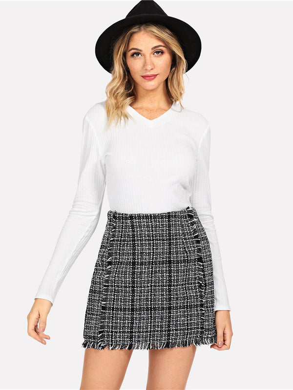Office Lady Elegant Frayed Edge Trim Plaid Tweed Mid Waist-Chic By Night -Pink-XS-Chic By Night