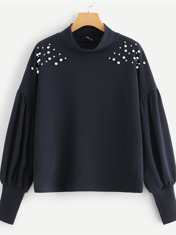 Navy Elegant Preppy Mock Neck Pearl Embellished Drop Shoulder Solid Sweatshirtt-Chic By Night -Navy Blue-XS-Chic By Night