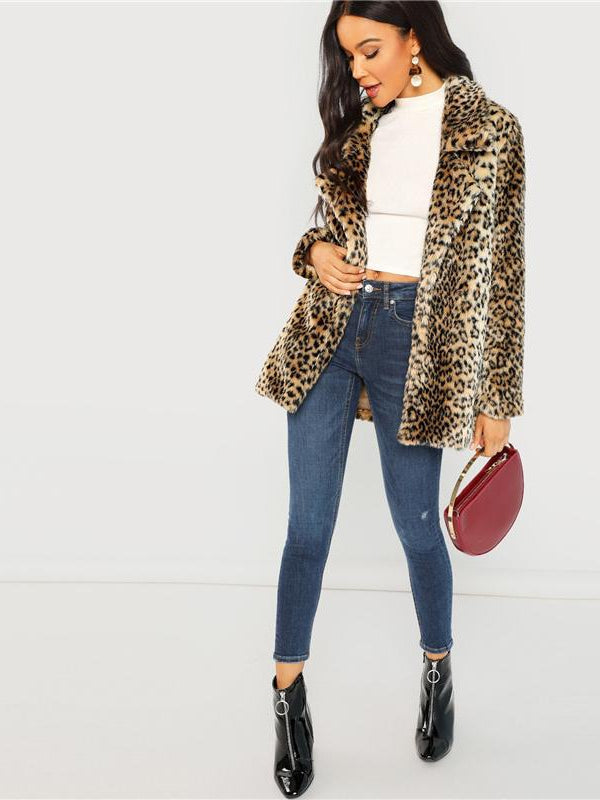 Multicolor Elegant Highstreet Leopard Print Stand Collar Fuzzy Coat - Chic B Night