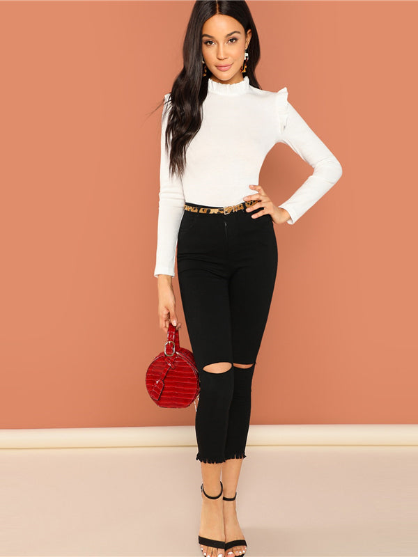 Slim Fit Frill Trim Solid Stand Collar Long Sleeve Pullovers Tee-Chic By Night -White-XS-Chic By Night