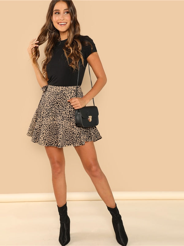 Multicolor Knot Side Leopard Print Ruffle Above Knee Skirt - Chic B Night