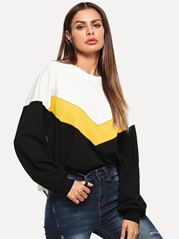 Cut And Sew Color Casual Long Sleeve Round Neck Sweatshirts - Chic B Night